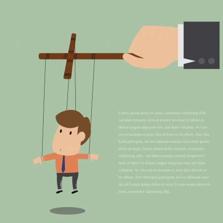 executing: Vector cartoon of Marionette of Businessman with rope controlled