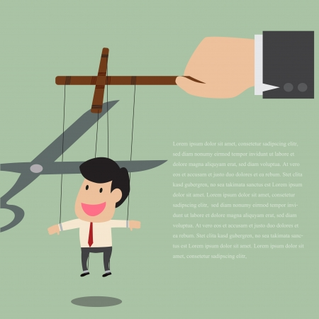 domination: Vector cartoon of Marionette of Businessman is released from rope controlled