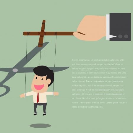 pull toy: Vector de dibujos animados de marionetas hombre de negocios, se libera de la cuerda controlada