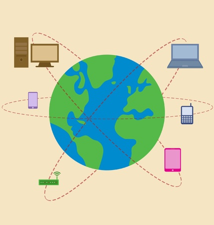 Vector cartoon of World is surrounded by mobile technology Vector