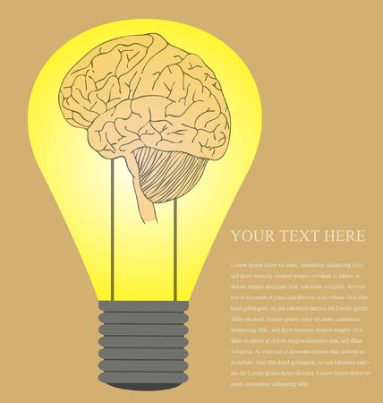 Vector of Vintage style of Brain in light bulb idea Vector