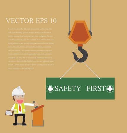 overhead crane: Vector cartoon of Businessman control crane hanging with safety first sign
