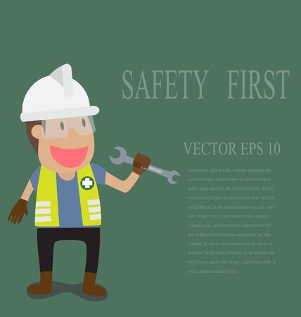 men at work sign: Vector cartoon of Technician full with Personal Protection Equipment