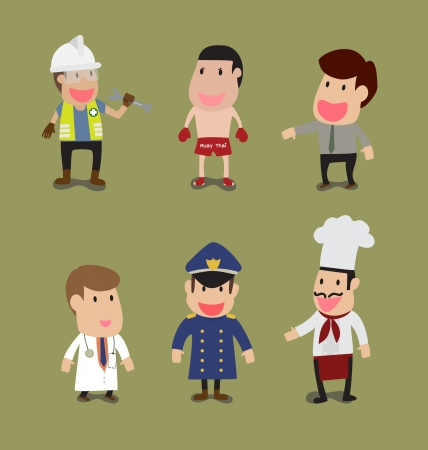 Vector cartoon of Group of People in different Occupation Vector