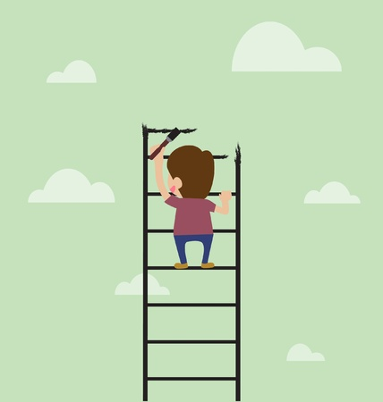 Vector cartoon of Artist are painting ladder and also climbing Vector