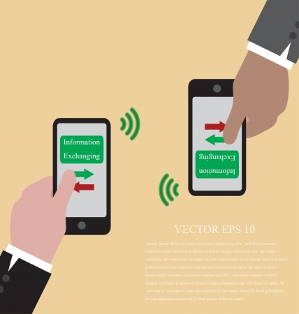 exchanging: Vector of Hand with smart phone  are exchanging data via wifi