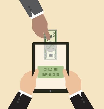 Vector Cartoon of Online banking concept : Send money via smart phone