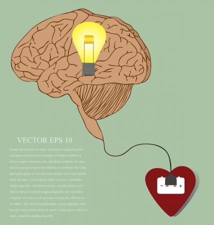coraz�n y cerebro: Vector de dibujos animados del coraz�n, del cerebro y la idea relacionada con enchufe Vectores