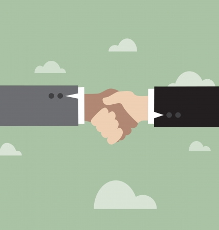 asian business meeting: Handshake, against the background of retro sky