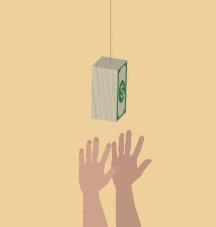 hold high: Hands trying to reach hanging money Illustration