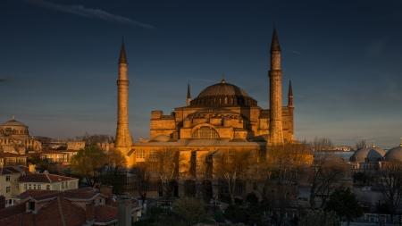 blue mosque: Hagia Sophia under evening light, Istanbul, Turkey