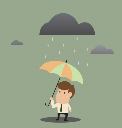 Vector cartoon of Businessman under an umbrella in the rain