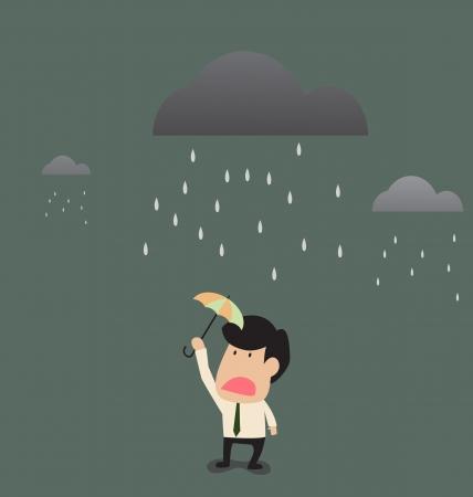 typhoon: Vector cartoon of Businessman under a little umbrella in the rain Illustration