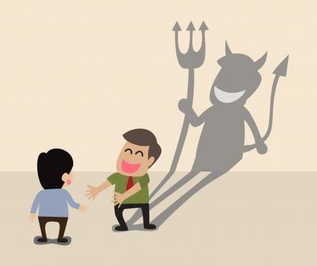 Teufel Schatten hinter einem lächelnden Gesicht von zwei Geschäftsleute