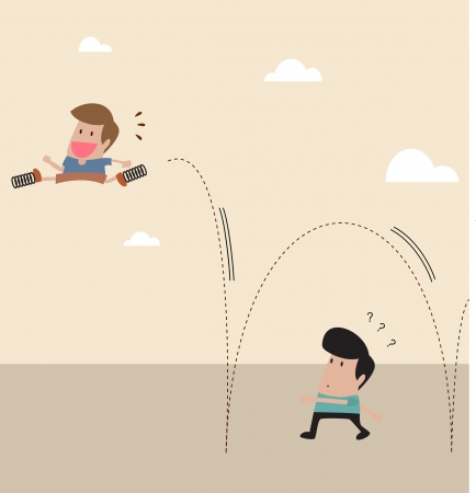bouncing: Vector cartoon of Kid with spring at shoe jump across another man