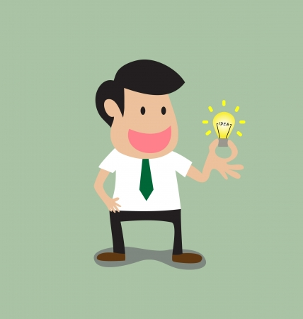 Vector cartoon of Businessman get a light bulb idea Vector