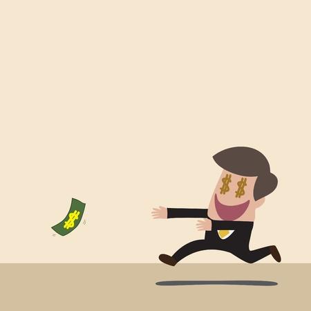 落ちてくるお金を追いかけてビジネスマンのベクトルの漫画  イラスト・ベクター素材