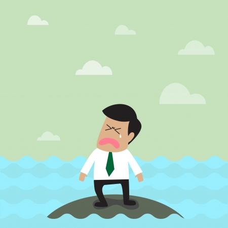 doomed: Vector cartoon of Lonely businessman on the small island