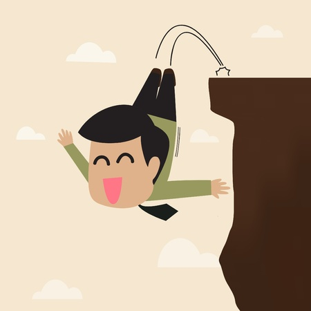 Vector cartoon of Businessman jump from a cliff Stock Vector - 20723056