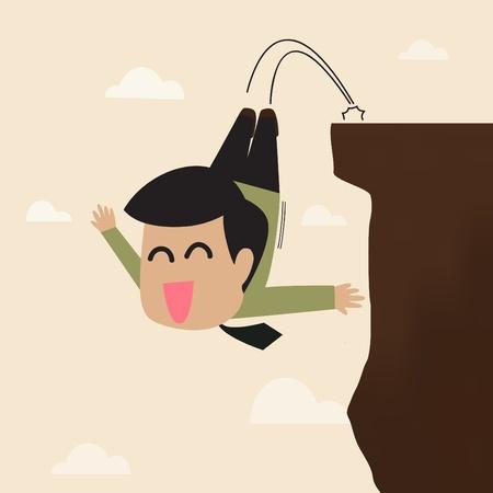Vector cartoon of Businessman jump from a cliff Stock Vector - 20723056