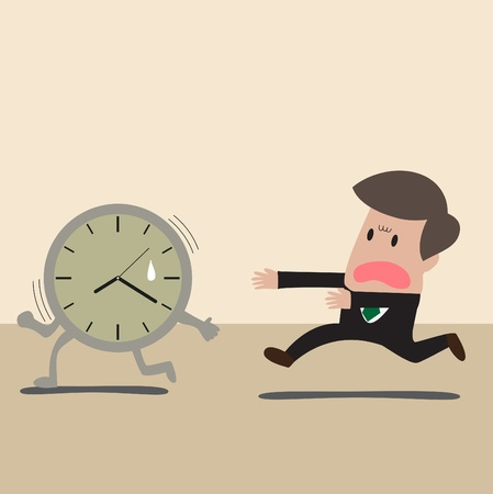 time run away: Vector cartoon of Businessman chasing a time Illustration