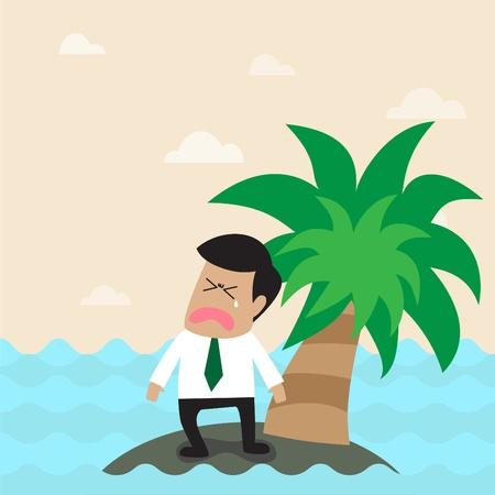 hombre solitario: Vector de dibujos animados solitario hombre de negocios en la pequeña isla