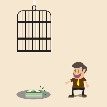 Vector cartoon of Businessman money and overhead trap Vector