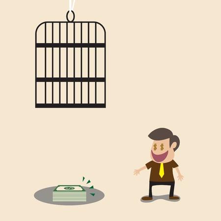 overhead: Vector cartoon of Businessman money and overhead trap Illustration