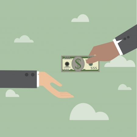 Vector cartoon of Hand, giving money to other hand
