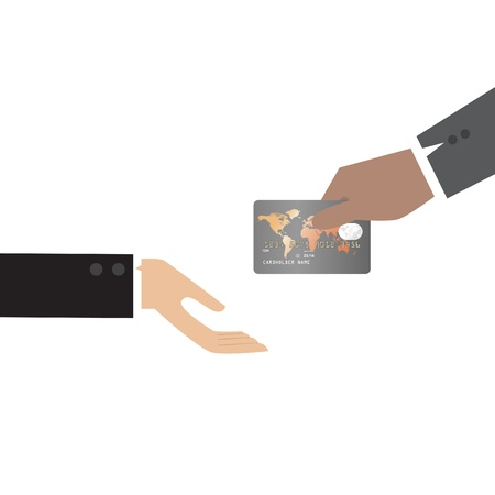 Vector cartoon of Hand, giving Credit Card to other hand Vector