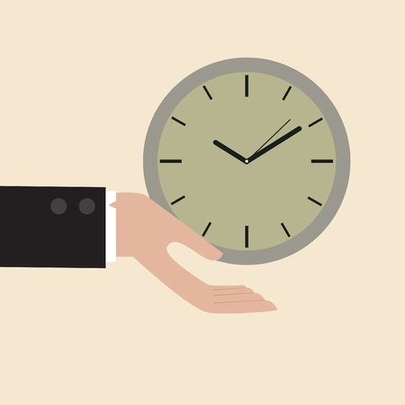 Vector cartoon of Clock floating on businessman hand Vector