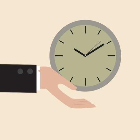 flit: Vector cartoon of Clock floating on businessman hand Illustration