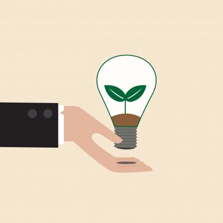 Vector cartoon of Ecology light bulb on businessman hand Vector