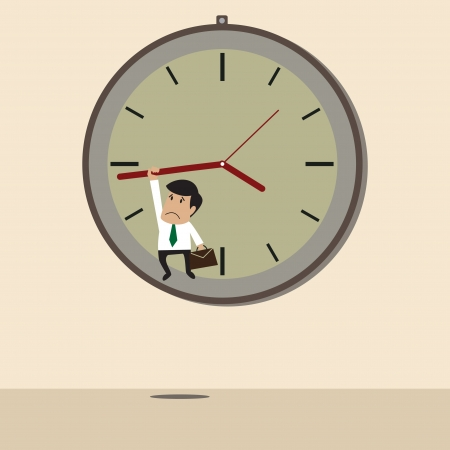 hangs: cartoon of Businessman hangs on an arrow of clock Illustration