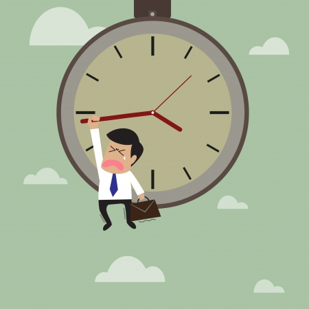 hangs: Businessman hangs on an arrow of clock that floating on sky Illustration