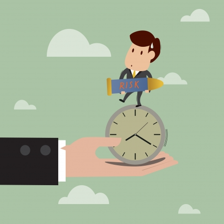 supporting: cartoon of  Businessman stand on the clock while carry bomb  with big hand are supporting