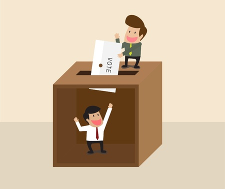 spoof: Vector cartoon of Businessman voting at ballot box with another man waiting inside