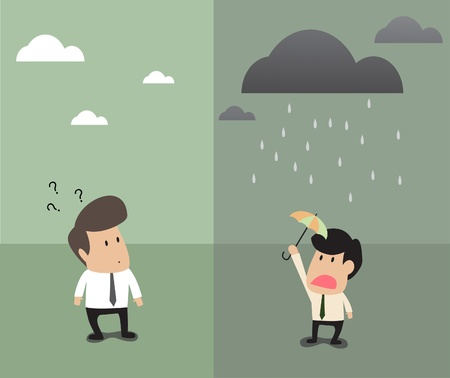 adverse: Cartoon of TWo businessman standing at same place but opposite weather above