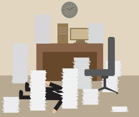 Vector cartoon of Businessman getting Knock from Hard working Illustration