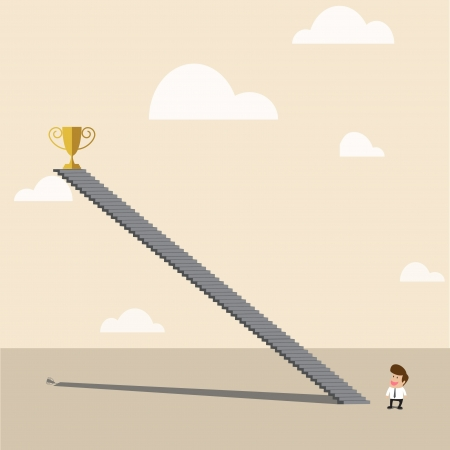 high up: Vector cartoon of Businessman looking to high up golden trophy of top of staircase