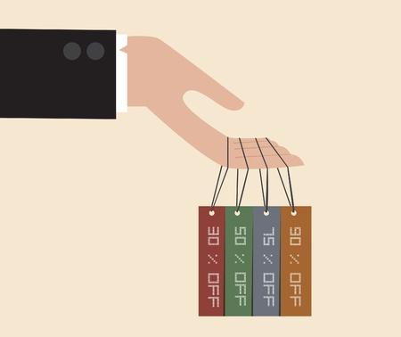 giveaway: Vector de la mano del hombre de negocios cuelga con la etiqueta de descuento