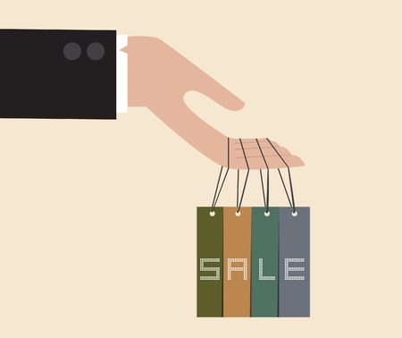 Vector of Businessman hand hang with discount tag