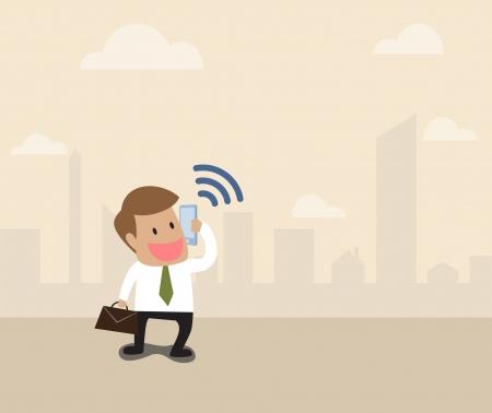 Vector cartoon of Businessman use smart phone with wifi symbol Stock Vector - 21637929