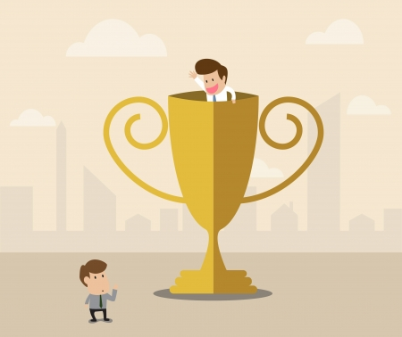 Vector cartoon of Businessman inside winner trophy has a greeting with another Stock Vector - 21637940