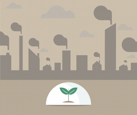 Vector of Single tree under glass shield surrounding with pollution city Vector