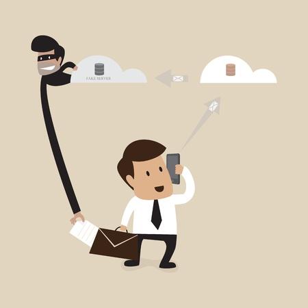 Hacker stiehlt Daten Form Geschäftsmann Vektorgrafik