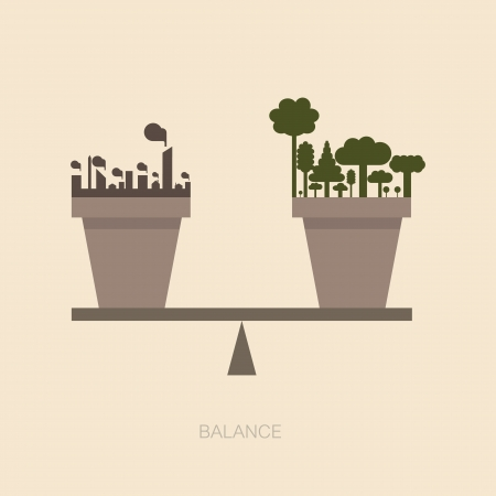 balanza en equilibrio: Escala de equilibrio entre la naturaleza y la construcci�n humana Vectores
