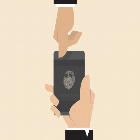 Smart phone with Finger print scanner app Vector