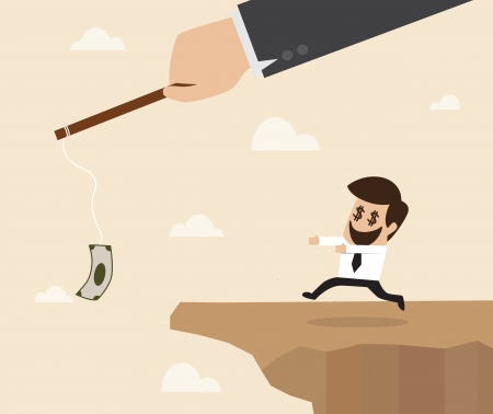 Businessman chasing money trap to the edge of cliff