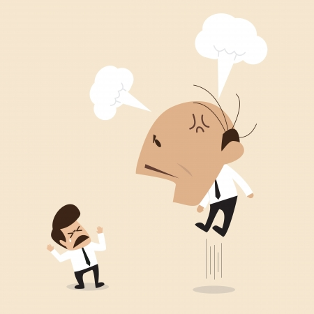 afraid man: Angry Boss is shouting to his employee Illustration